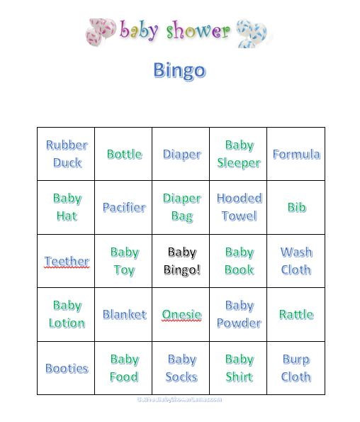 Baby shower bingo free printable bingo cards and instructions for preparation baby shower bingo solutioingenieria Images