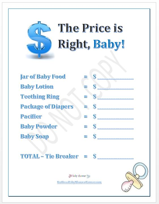 boy baby shower price is right game