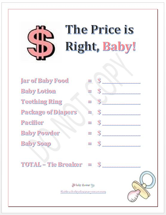 The Price is Right Baby Shower Game Girl