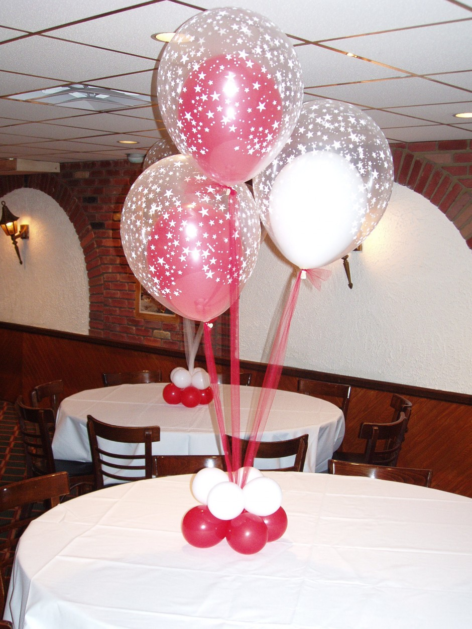 A simple yet fancy balloon centerpiece, that can be tailored to meet any size table. Try adding confetti to the balloons to add a special touch!